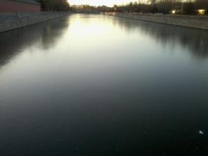 The moat around the Forbidden City lies frozen in late November