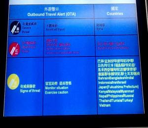 Sign at a Chinese airport - On India, 'Monitor Situation, Exercise Caution'